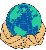Hands cradling a globe